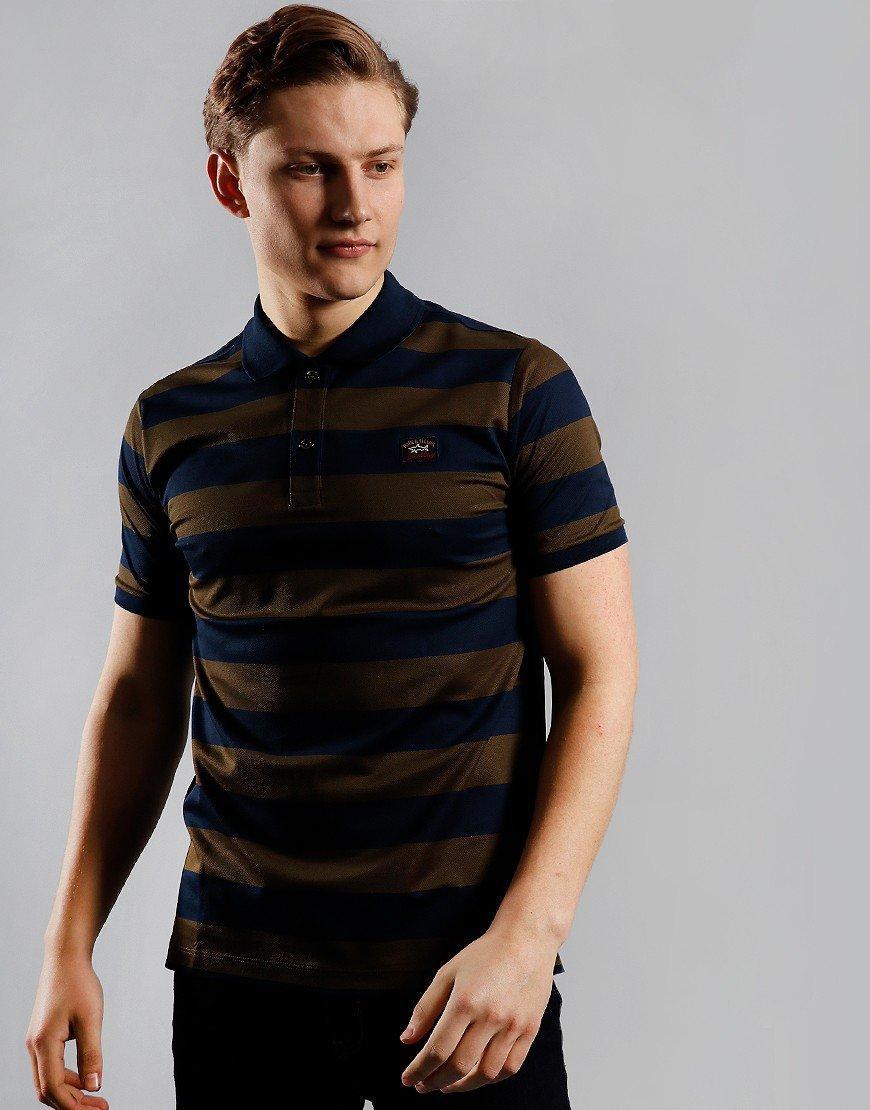 Paul & Shark Stripe Polo Shirt Blue/Dark Green