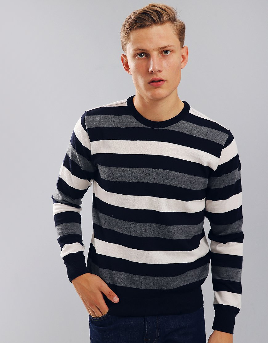 Paul & Shark Lightweight Crew Neck Stripe Jumper Blue/Cream/Grey