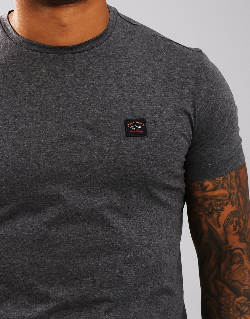 Paul & Shark Logo Patch Crew T-Shirt Grey