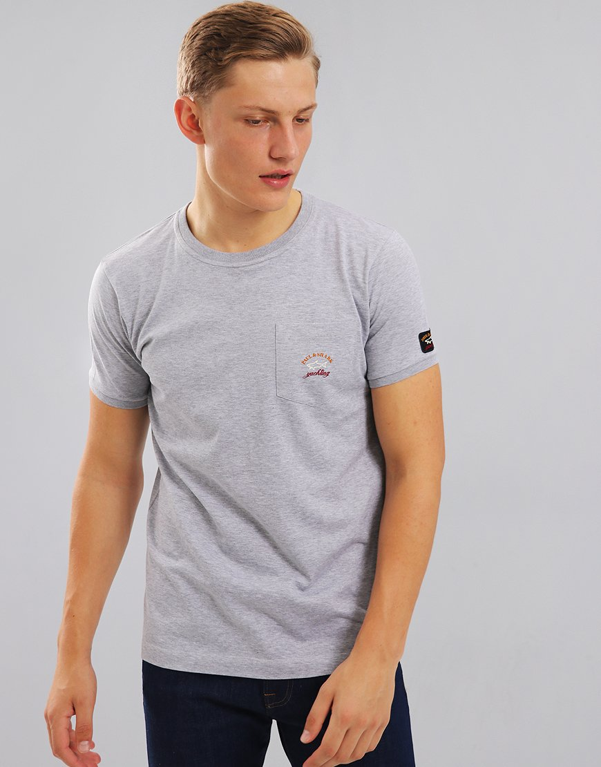Paul & Shark Pocket T-Shirt With Arm Logo Grey