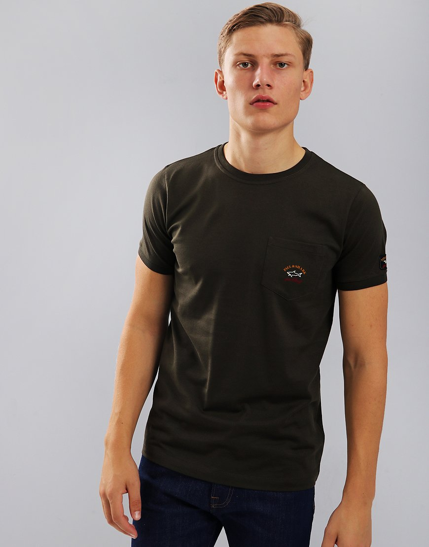 Paul & Shark Pocket T-Shirt With Arm Logo Military Green