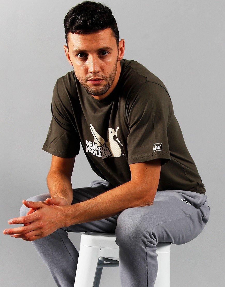 Peaceful Hooligan 2 Colour Dove T-Shirt Dark Olive
