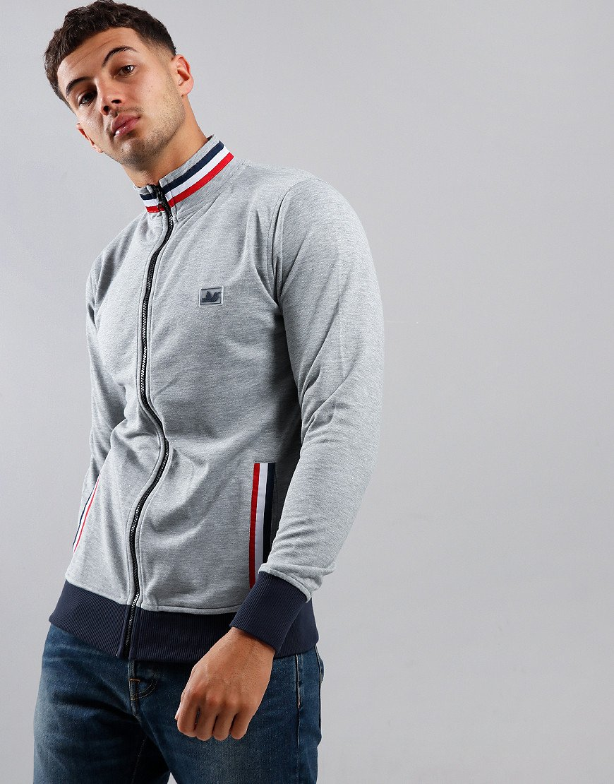 Peaceful Hooligan Boddington Funnel Neck Zip Sweat Marl Grey