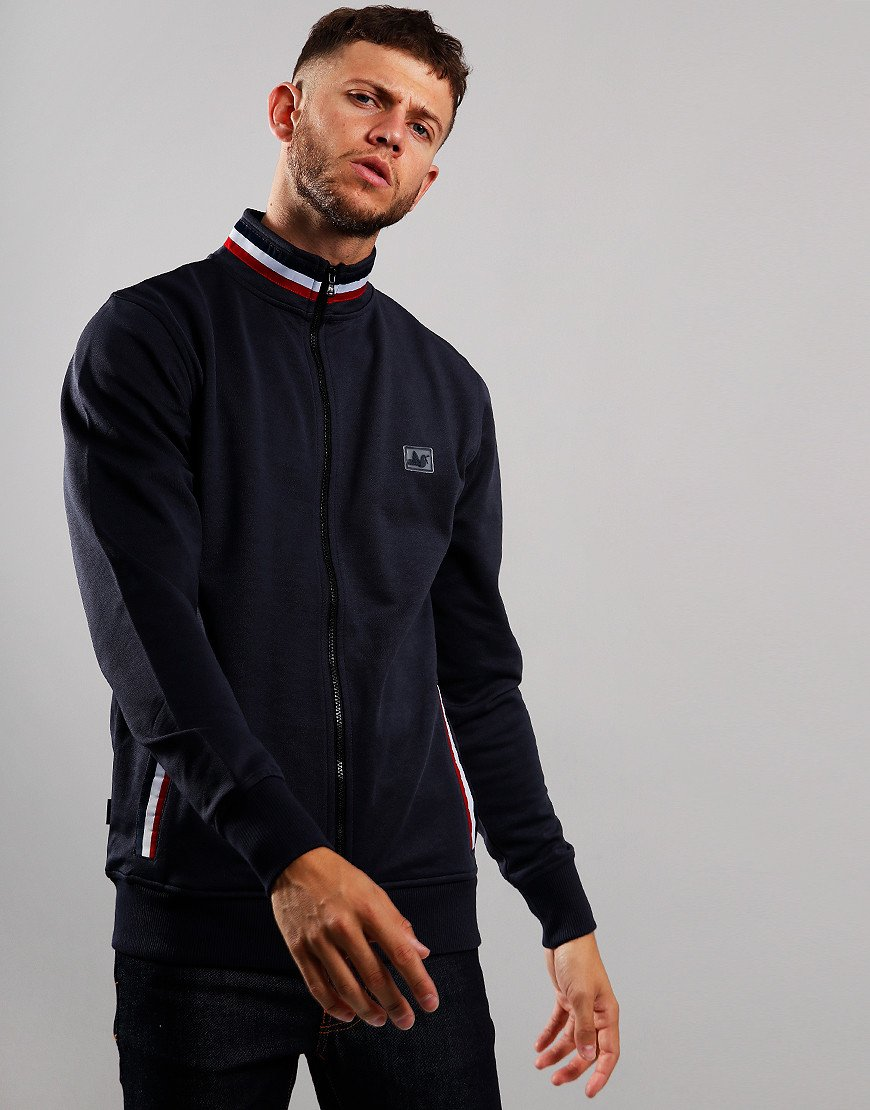 Peaceful Hooligan Boddington Funnel Neck Zip Sweat Navy