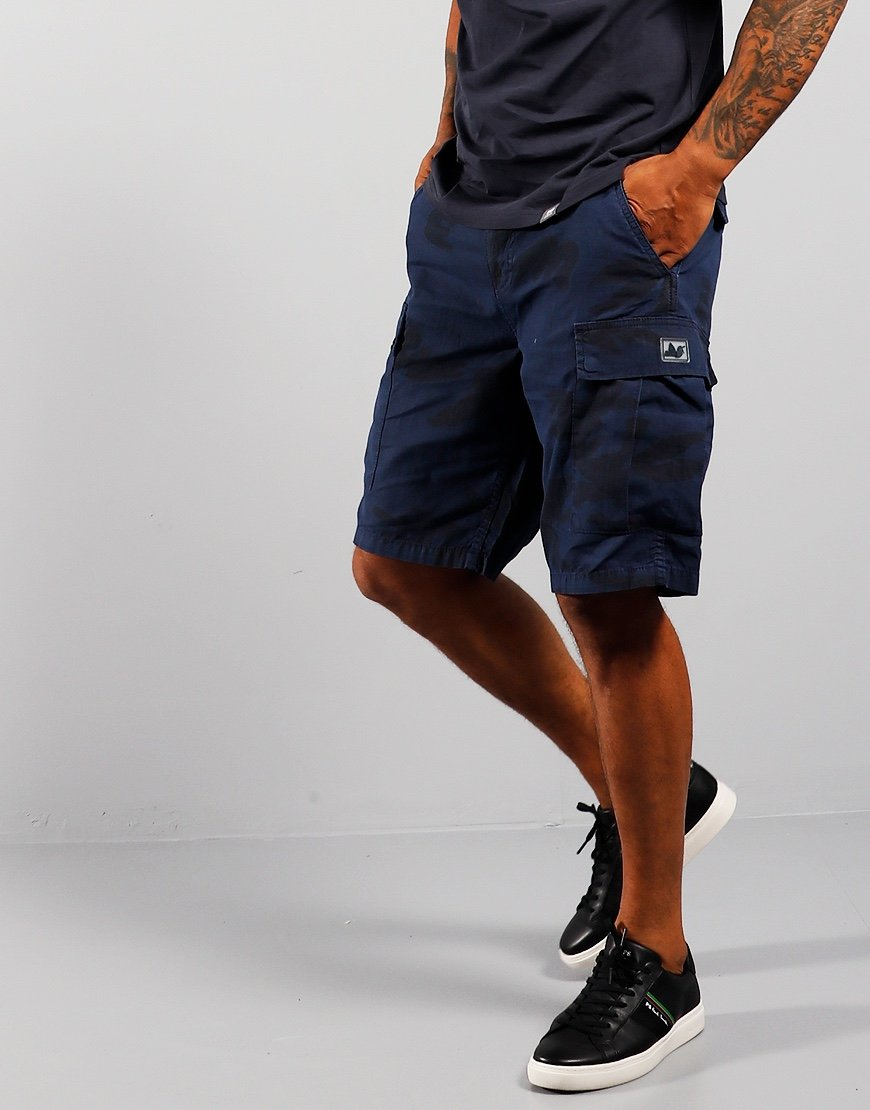 Peaceful Hooligan Container Ripstop Shorts Navy Camo