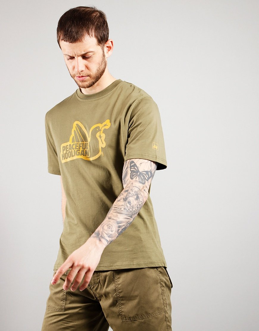 Peaceful Hooligan Outline Dove T-Shirt Olive