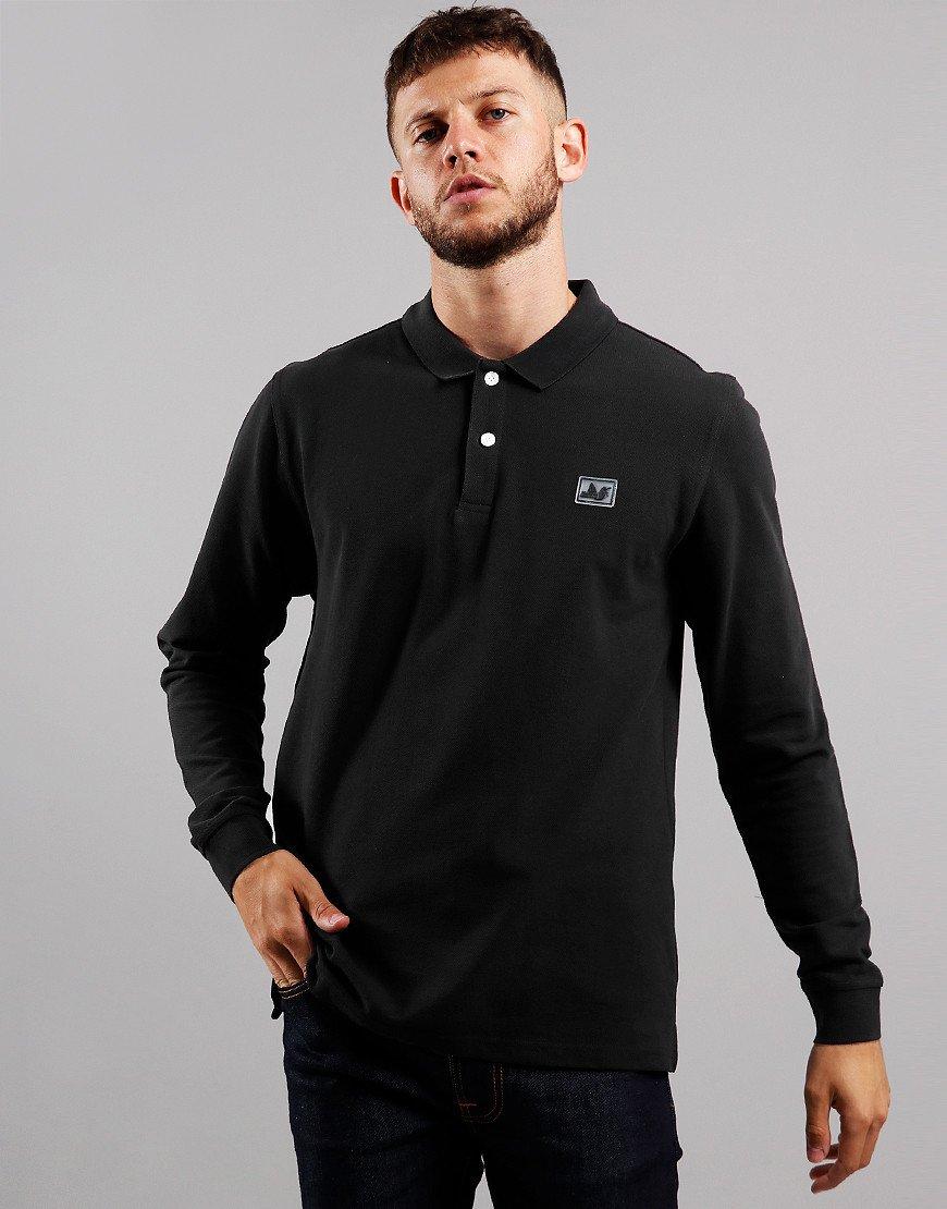 Peaceful Hooligan Quinn Long Sleeve Polo Shirt Black