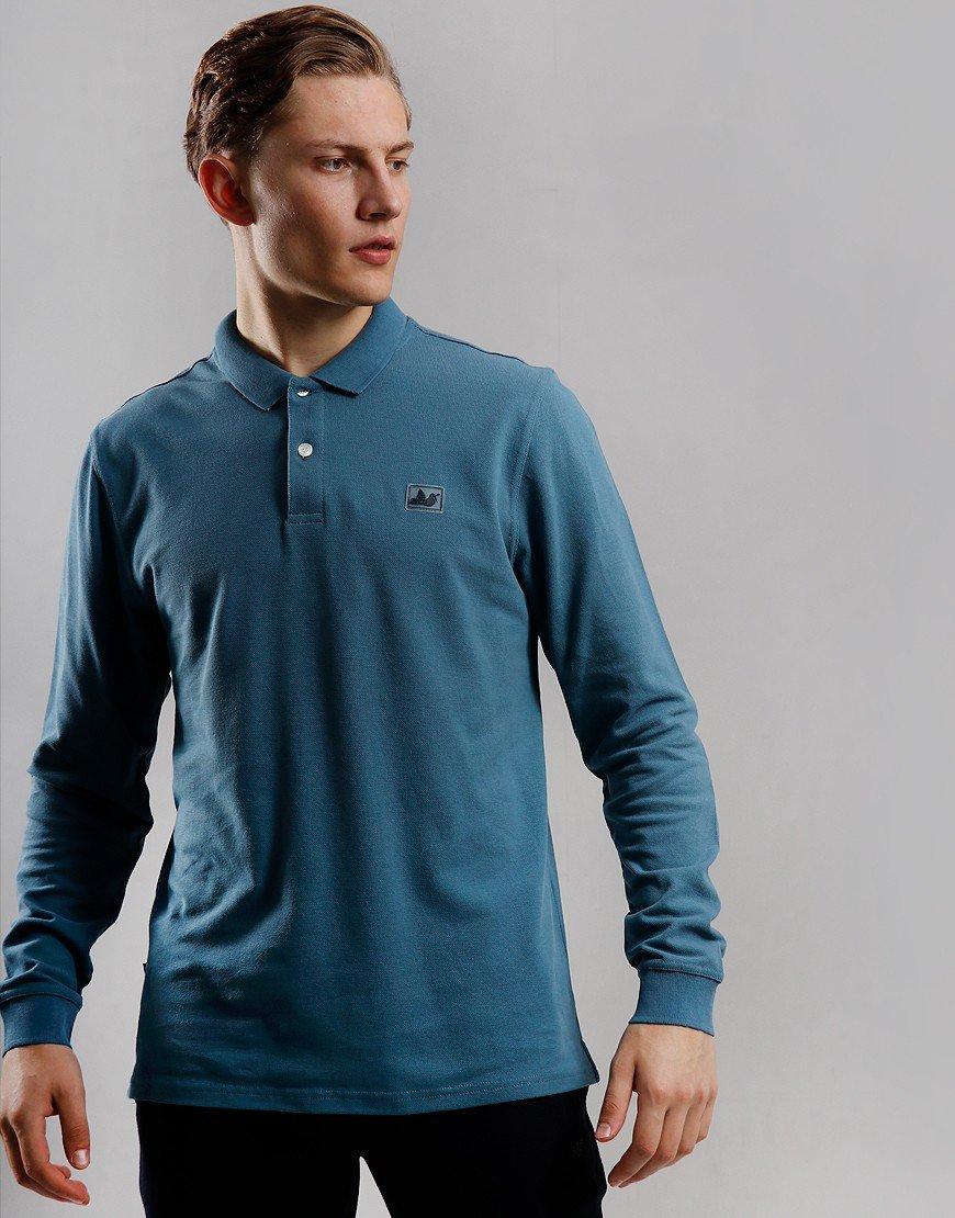 Peaceful Hooligan Quinn Long Sleeve Polo Shirt Bluestone