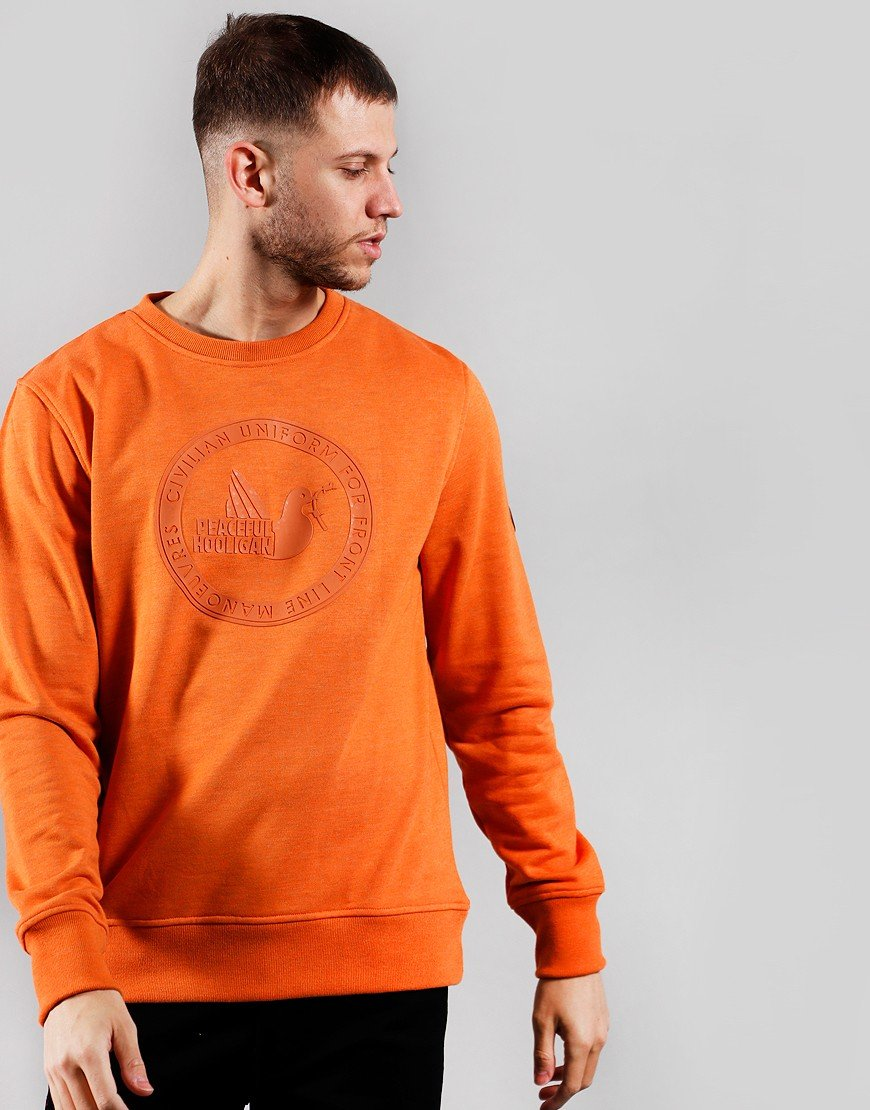 Peaceful Hooligan Rubber Print Crew Sweat Orange