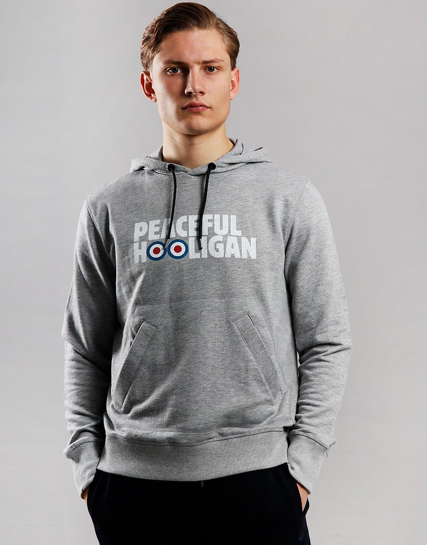 Peaceful Hooligan Union Target Hoodie Marl Grey