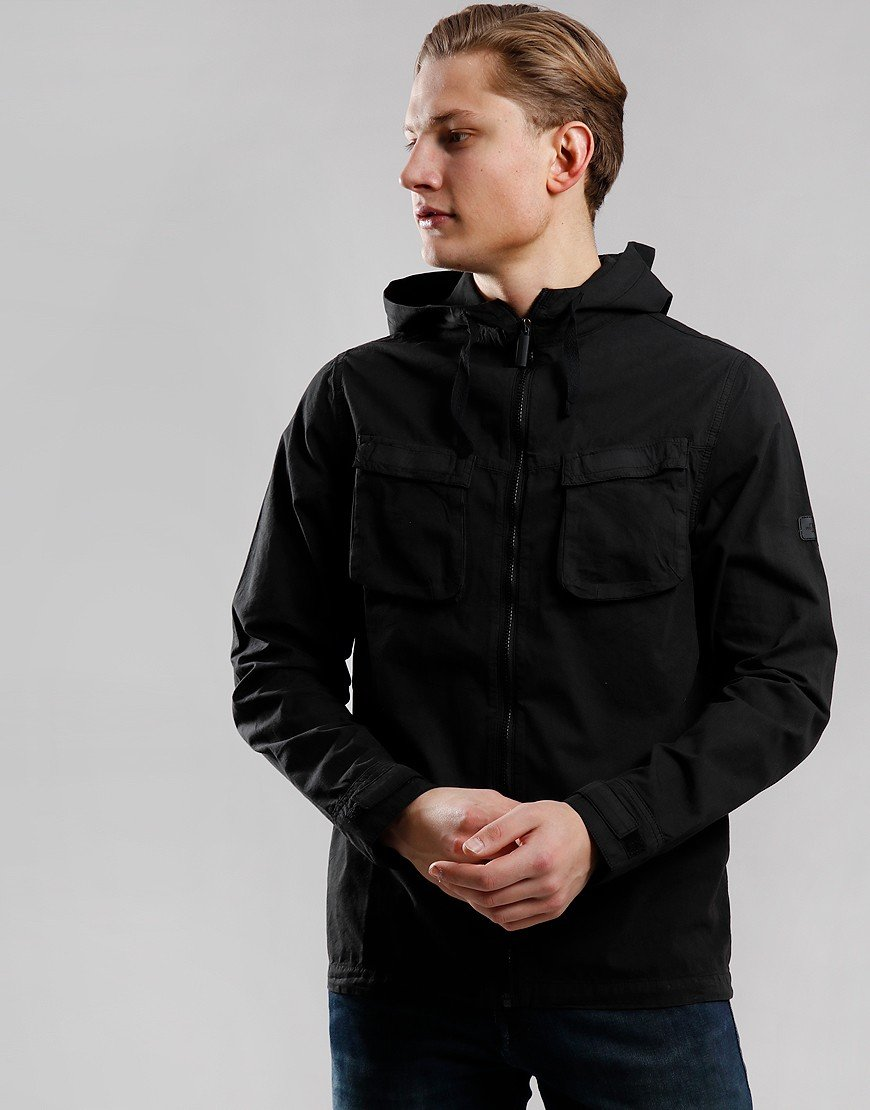 Peaceful Production Hood Shirt Jacket Black