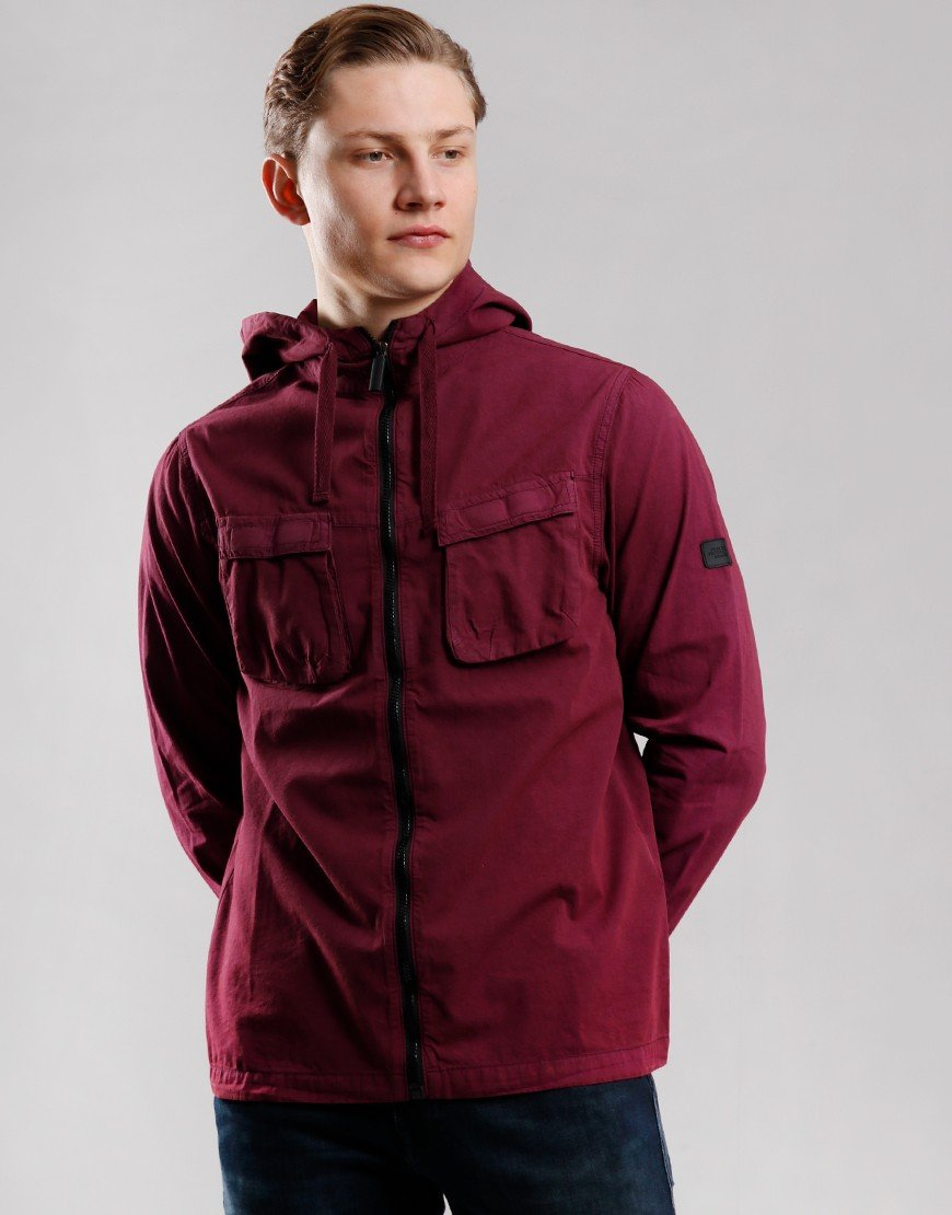 Peaceful Production Hood Shirt Jacket Zinfandel