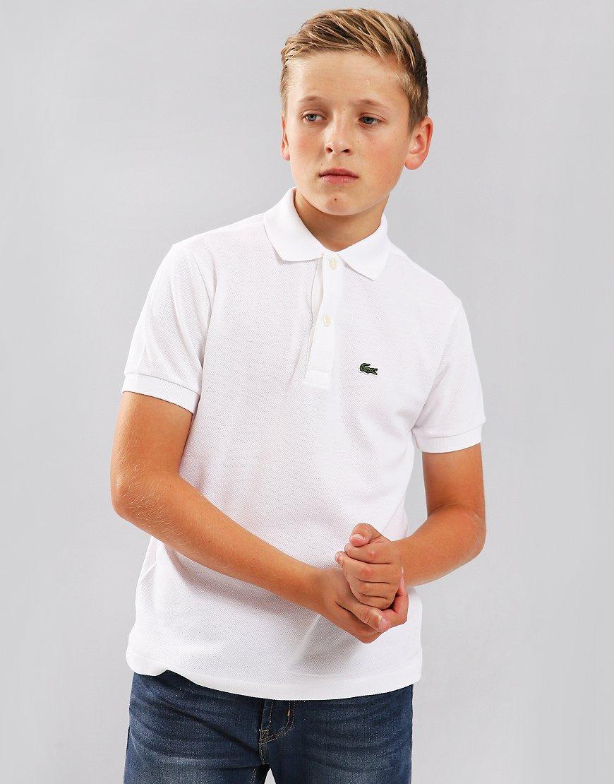 Lacoste Kids Plain Polo Shirt White