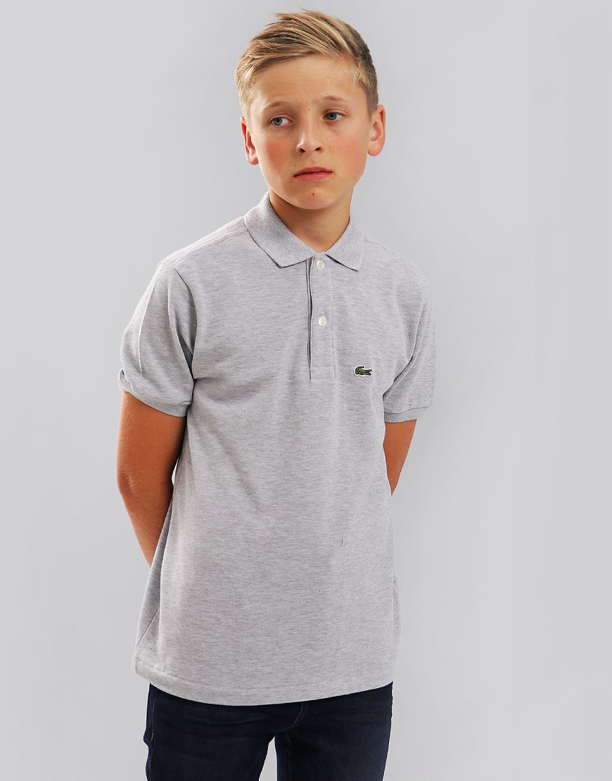 Lacoste Kids Plain Polo Shirt In Grey