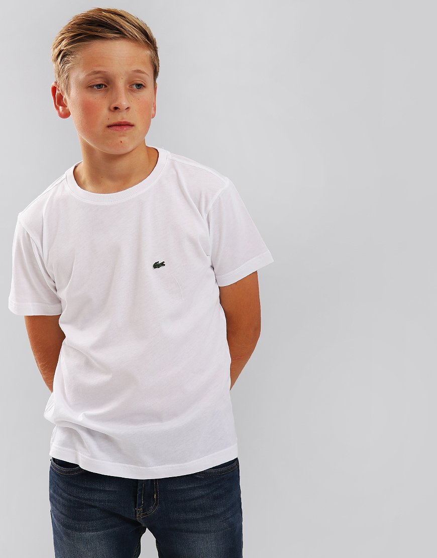 Lacoste Kids Crew Neck T-Shirt With Chest Logo White
