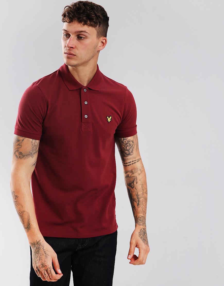 Lyle & Scott Plain Polo Shirt Claret Jug