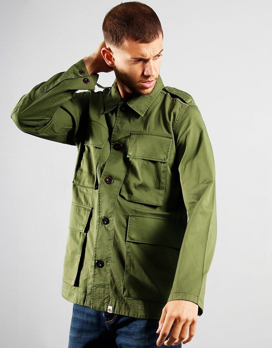 Pretty Green 4 Pocket Military Field Overshirt Khaki