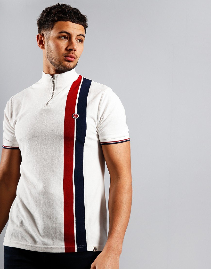 Pretty Green Colour Block Zip T-Shirt White
