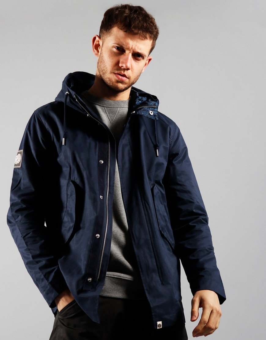 Pretty Green Cotton Zip Hooded Jacket Navy