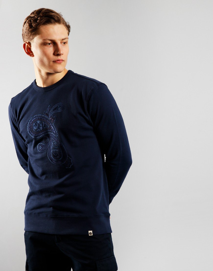 Pretty Green Paisley Embroided Sweatshirt Navy