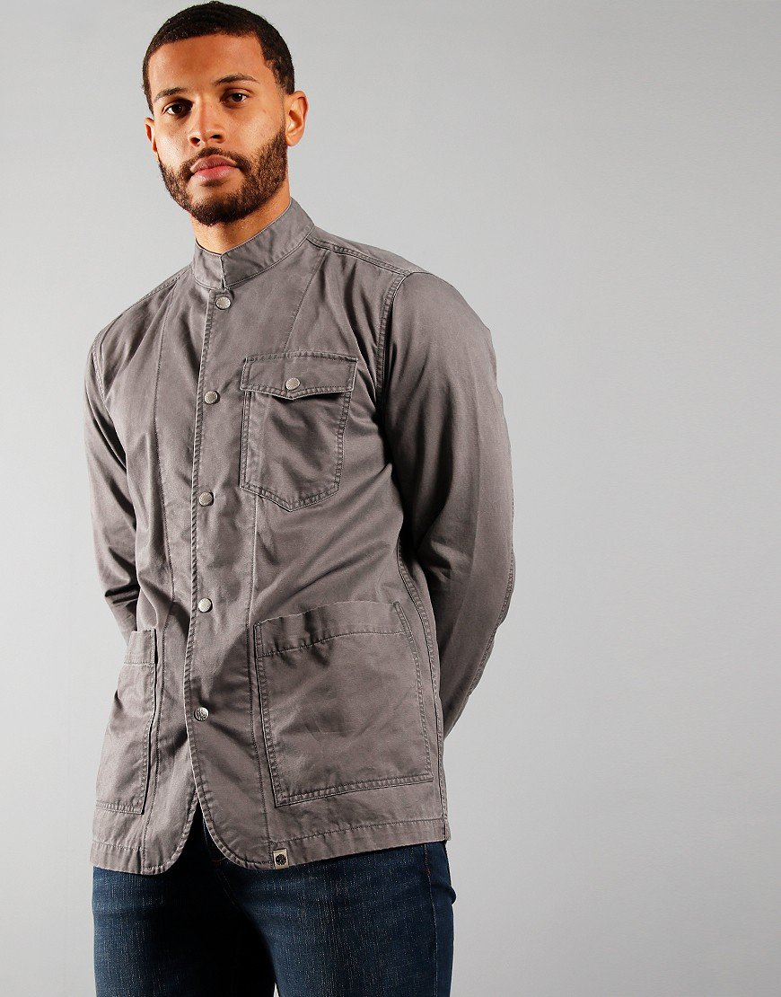 Pretty Green Collarless Over Shirt Grey
