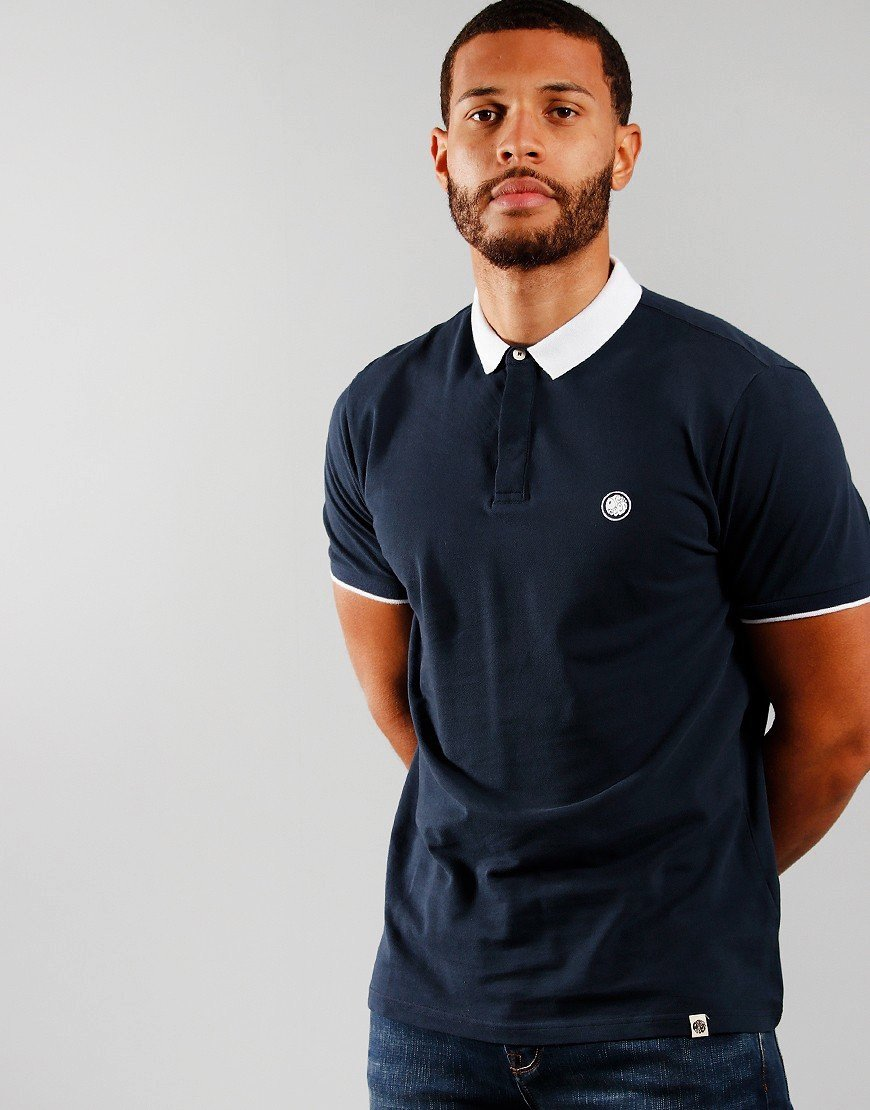 Pretty Green Concealed Placket Polo Shirt Navy