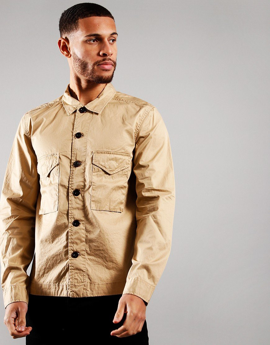 Pretty Green Connor Buttoned Overshirt Sand