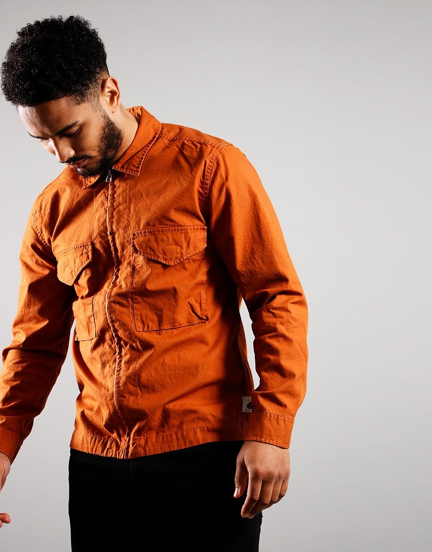 Pretty Green Connor Cotton Ripstop Overshirt Orange