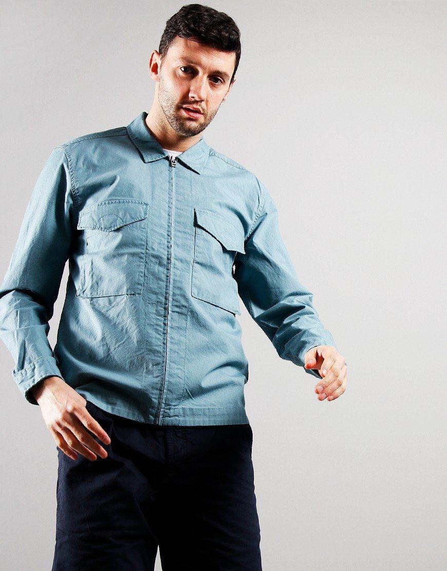 Pretty Green Connor Cotton Ripstop Overshirt Blue