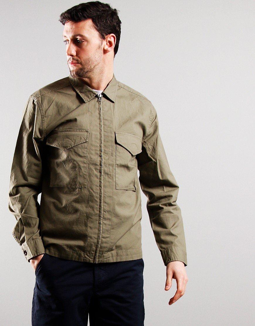 Pretty Green Connor Cotton Ripstop Overshirt Khaki
