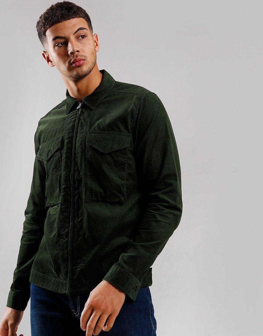 Pretty Green Cord Zip Overshirt Green