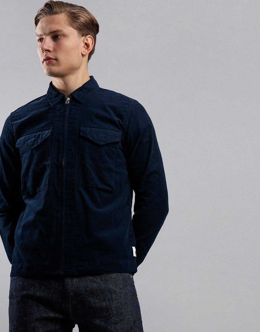Pretty Green Cord Zip Overshirt Navy