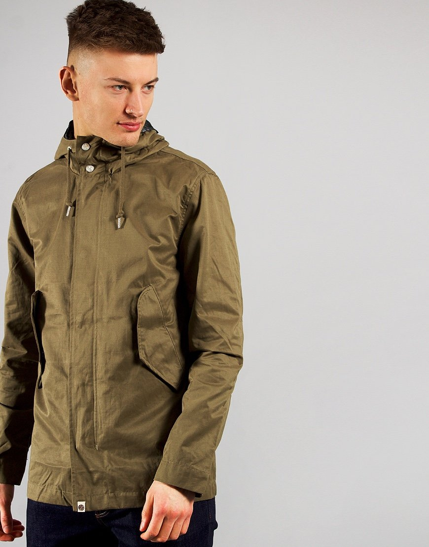 Pretty Green Cotton Zip Hooded Jacket Green