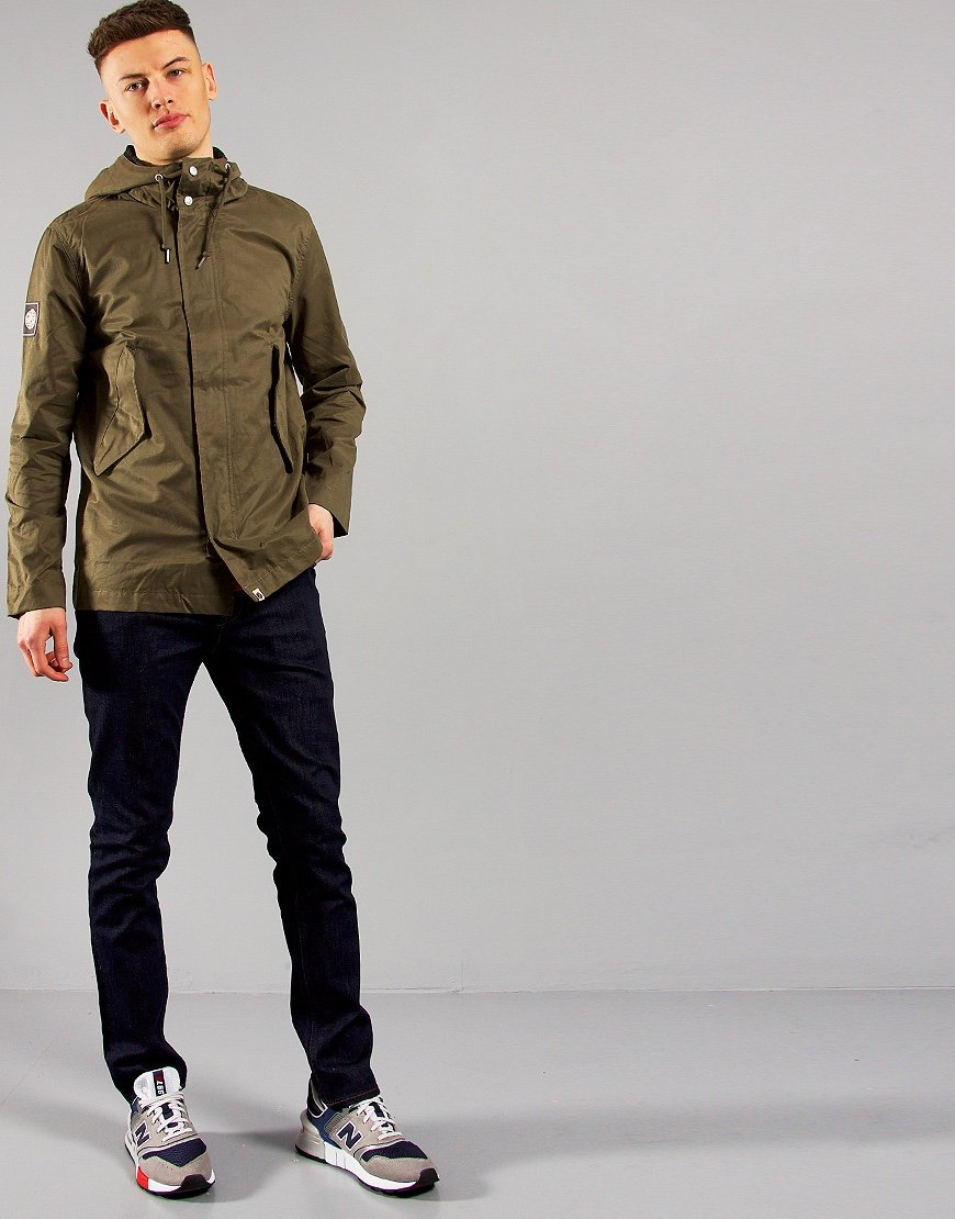 Pretty Green Cotton Zip Hooded Jacket Green