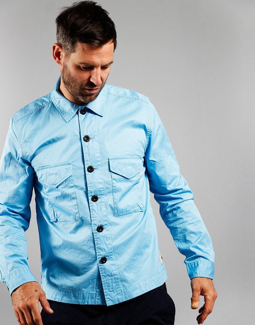 Pretty Green Cotton Button Oveshirt Light Blue