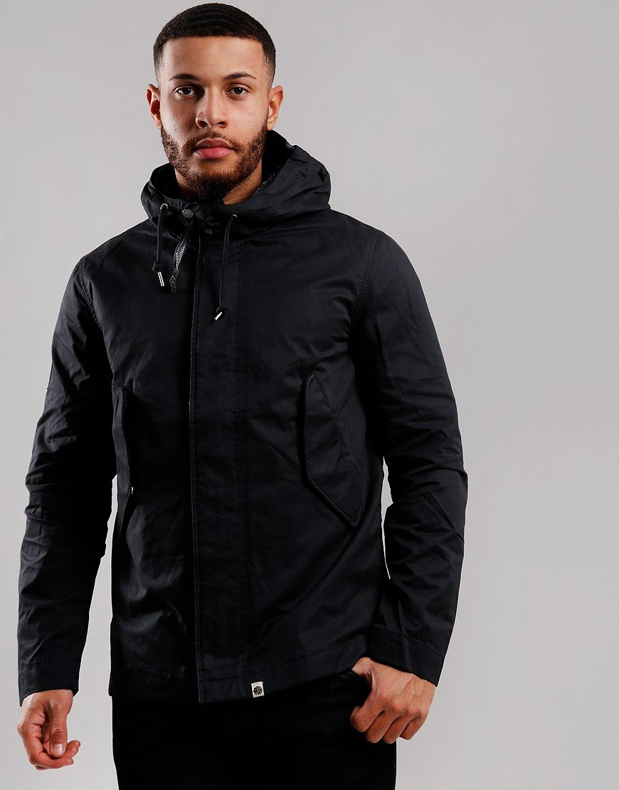 Pretty Green Cotton Zip Hooded Jacket Black