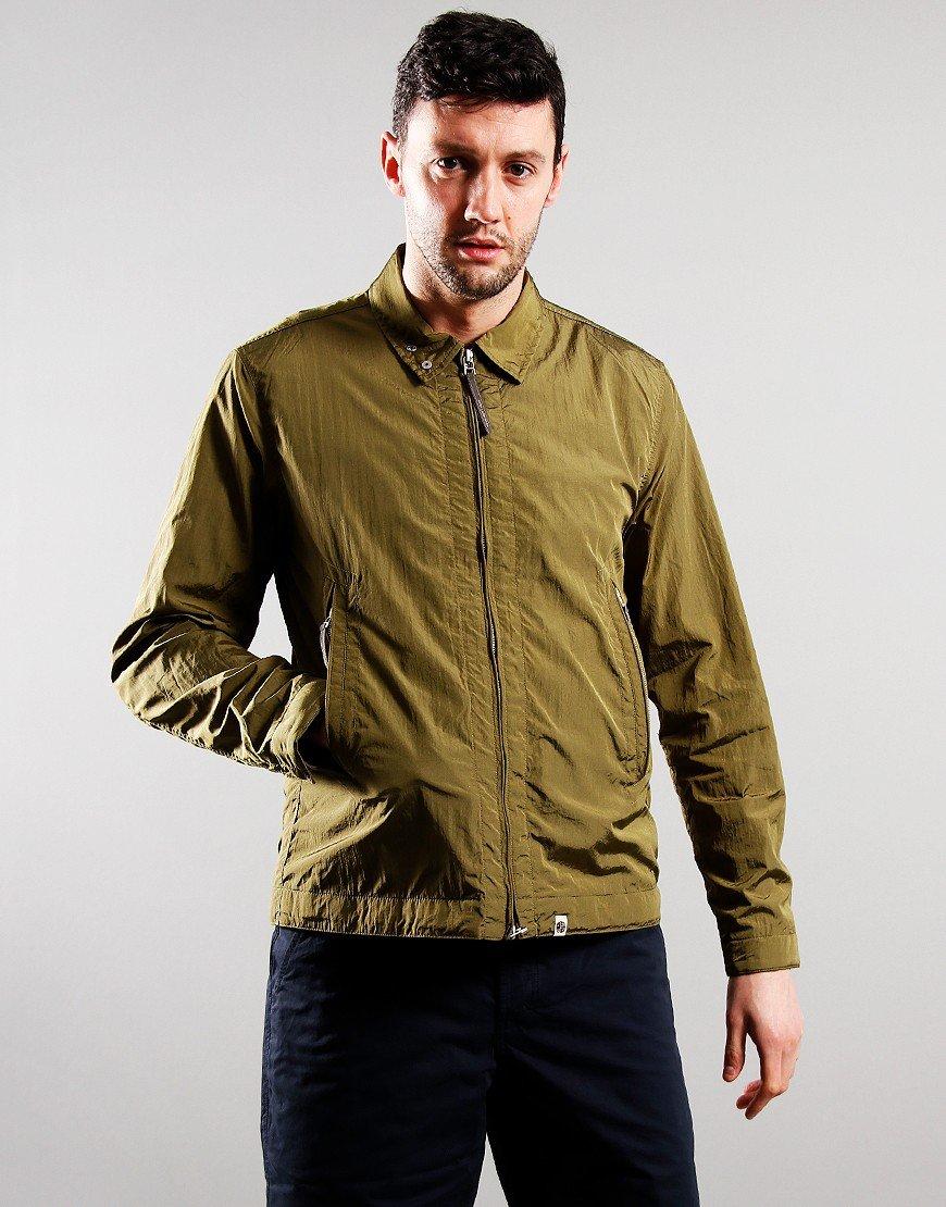 Pretty Green Crinkle Nylon Overshirt Khaki