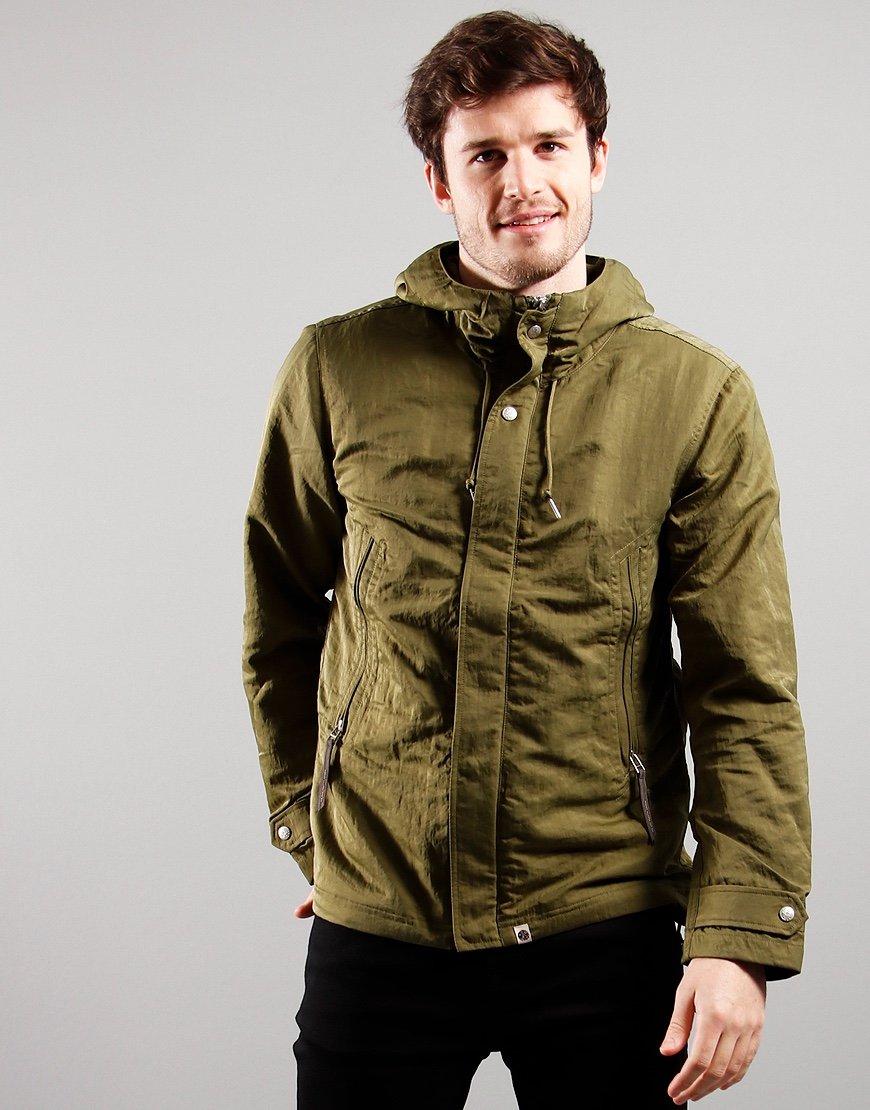 Pretty Green Crinkle Nylon Hooded Jacket Khaki