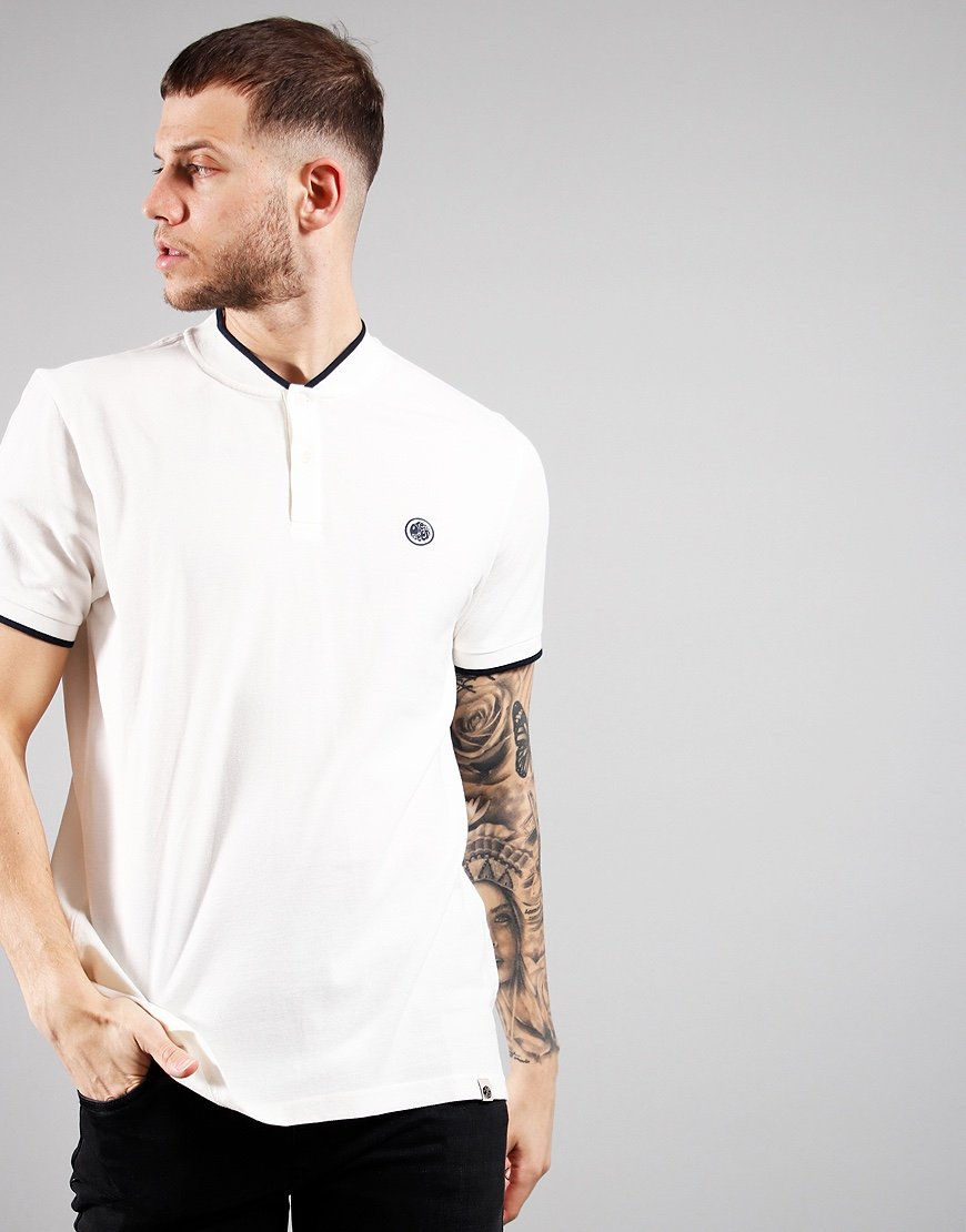 Pretty Green Grandad Collar T-Shirt White