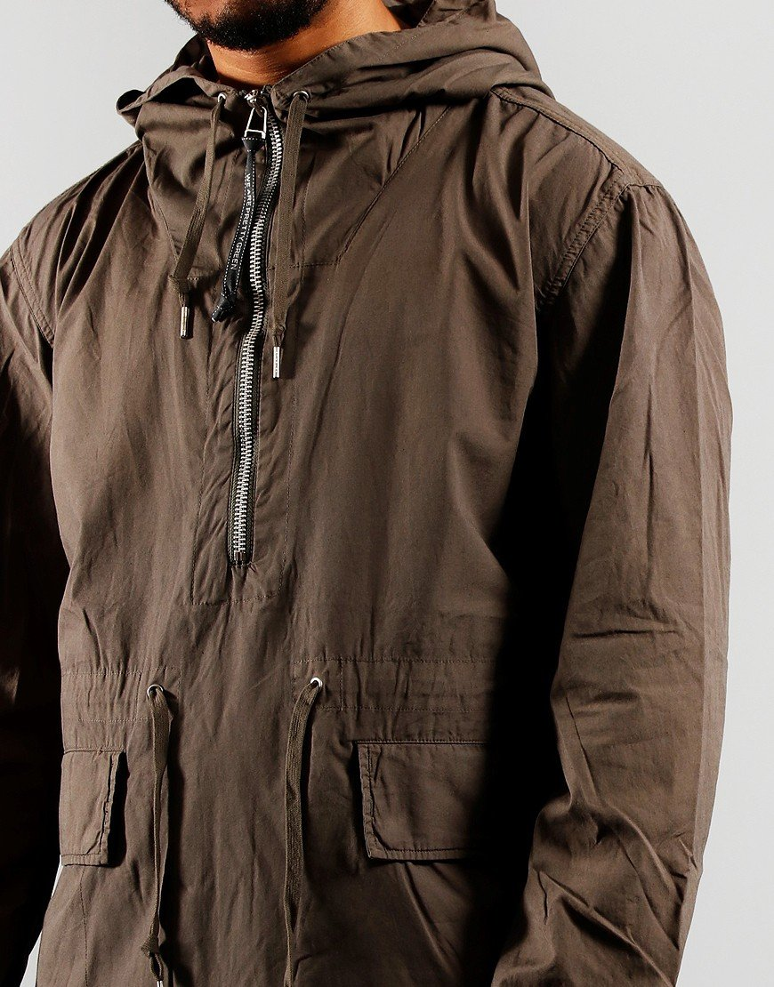 Pretty Green Half Zip Smock Jacket Khaki