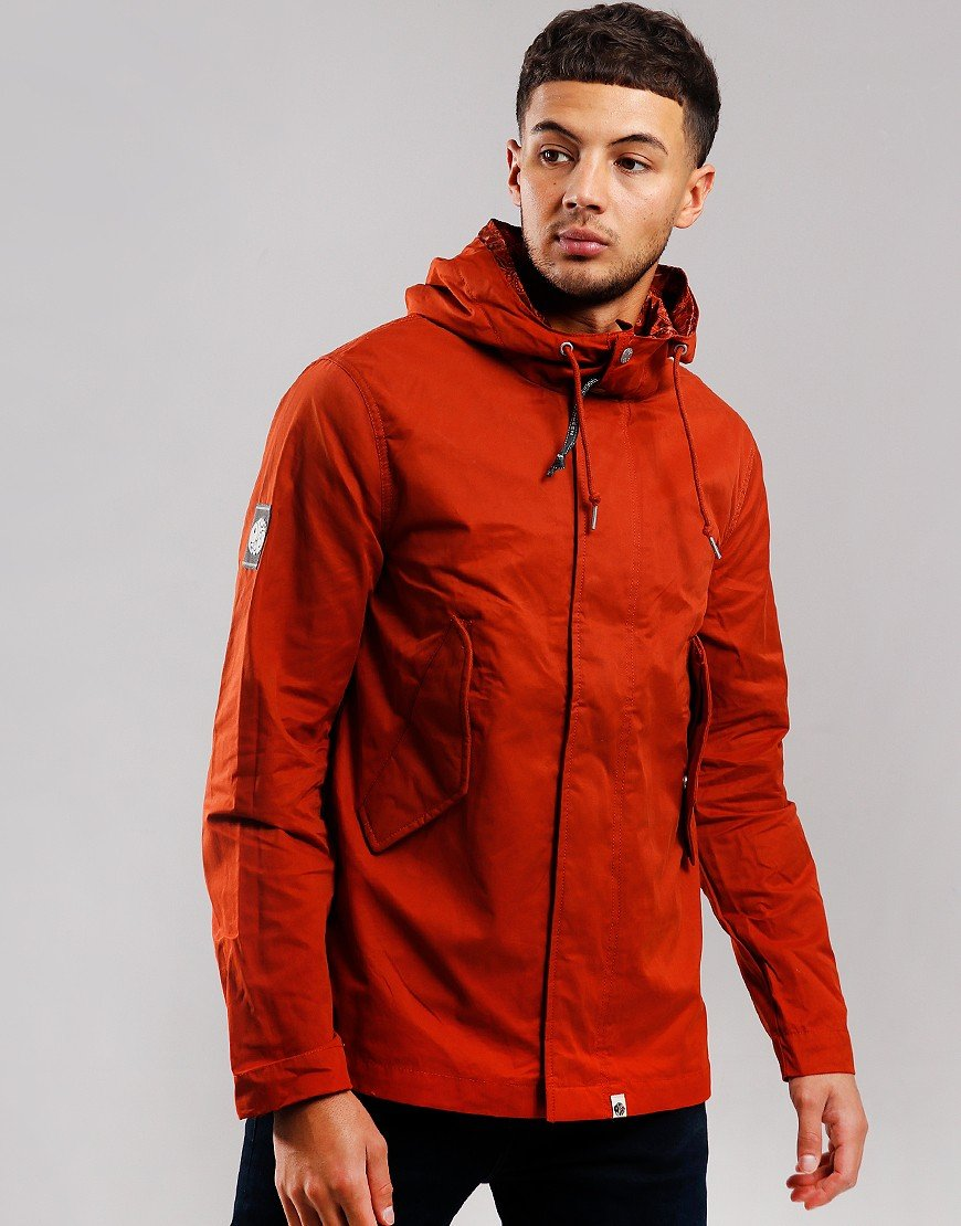Pretty Green Cotton Zip Hooded Jacket Orange