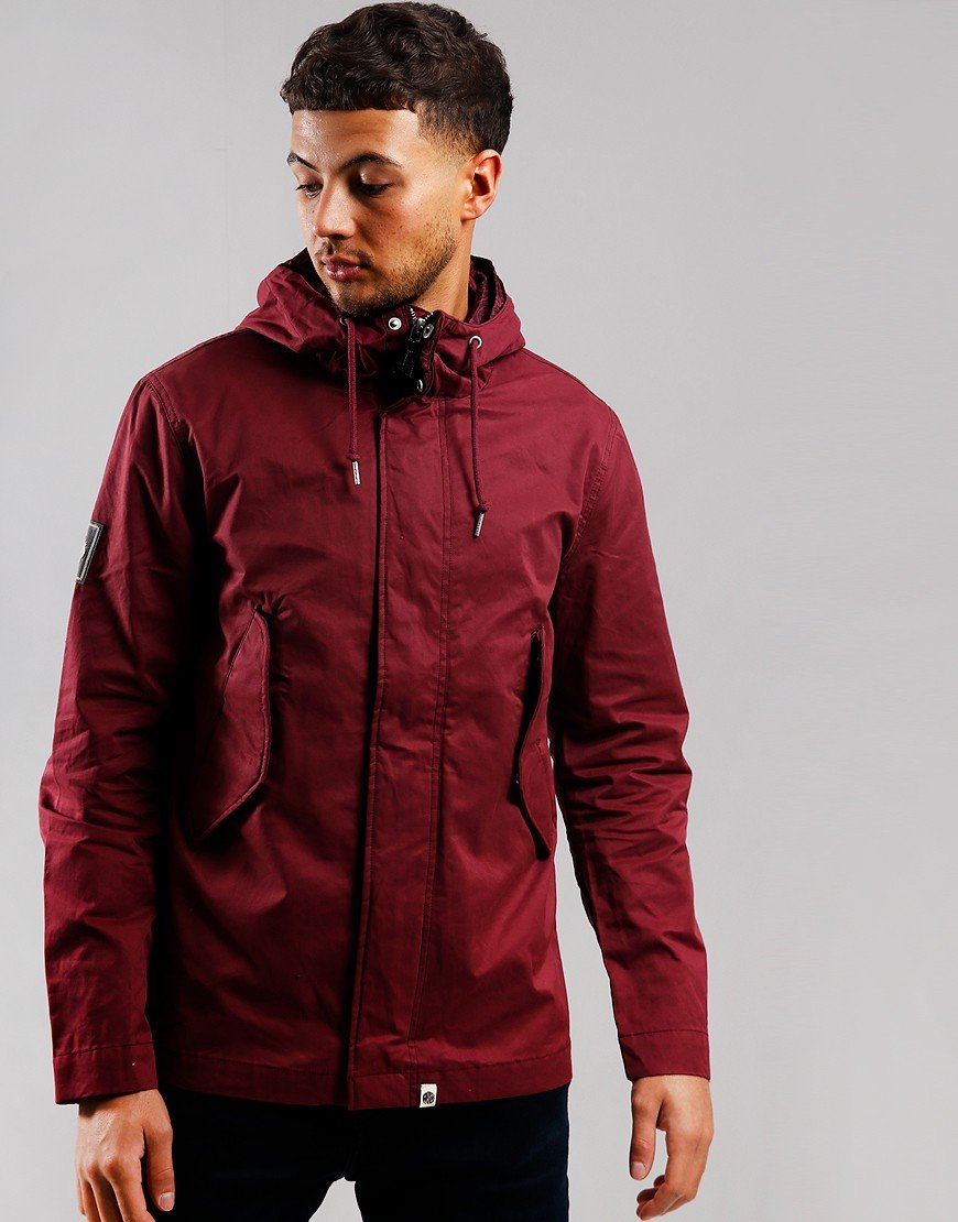 Pretty Green Cotton Zip Hooded Jacket Red