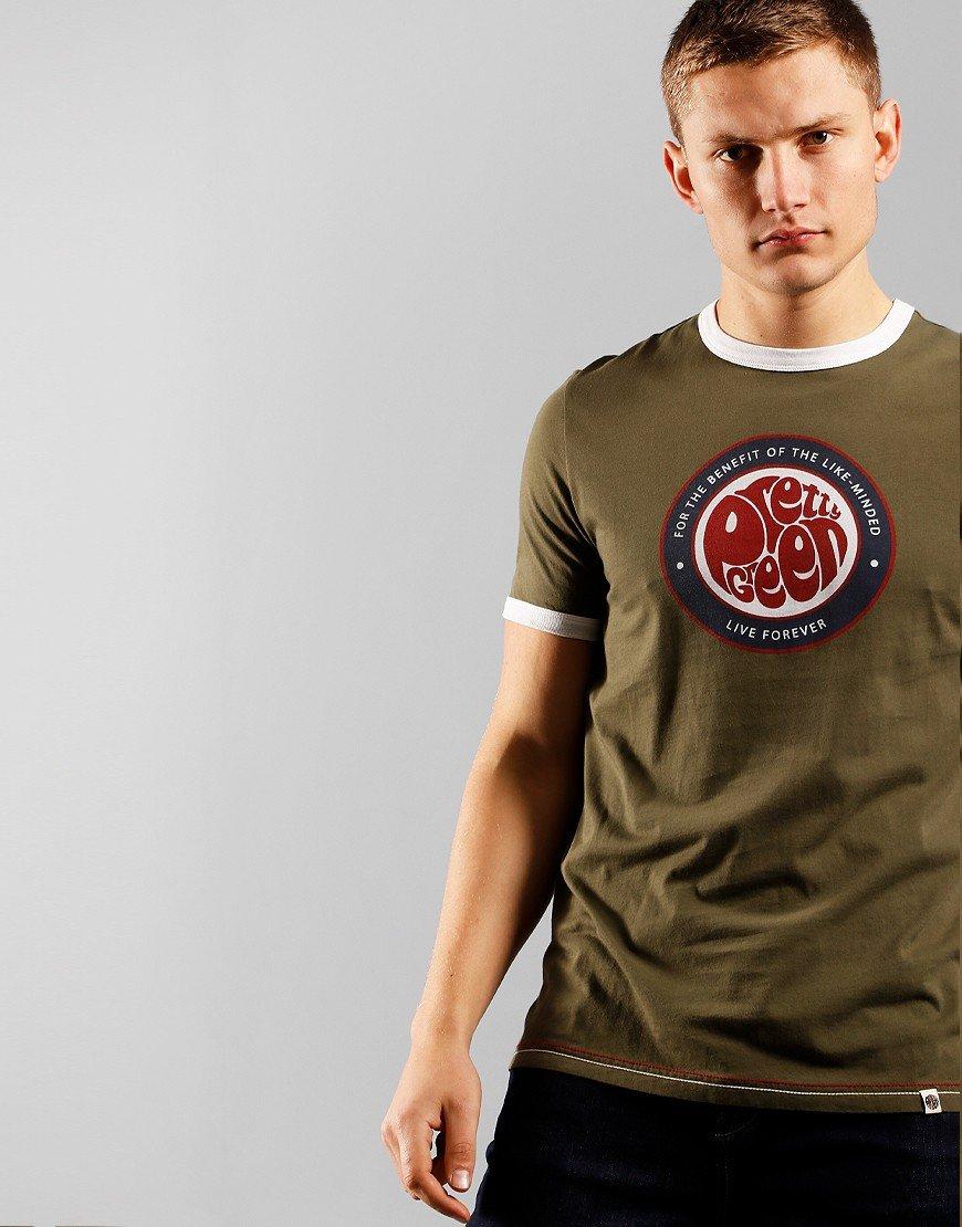 Pretty Green Likeminded Logo T-Shirt Khaki