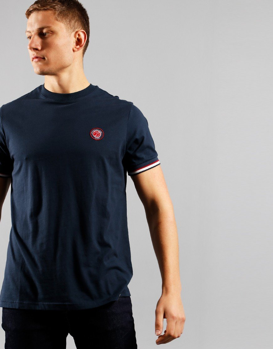 Pretty Green Likeminded Tipped T-Shirt Navy