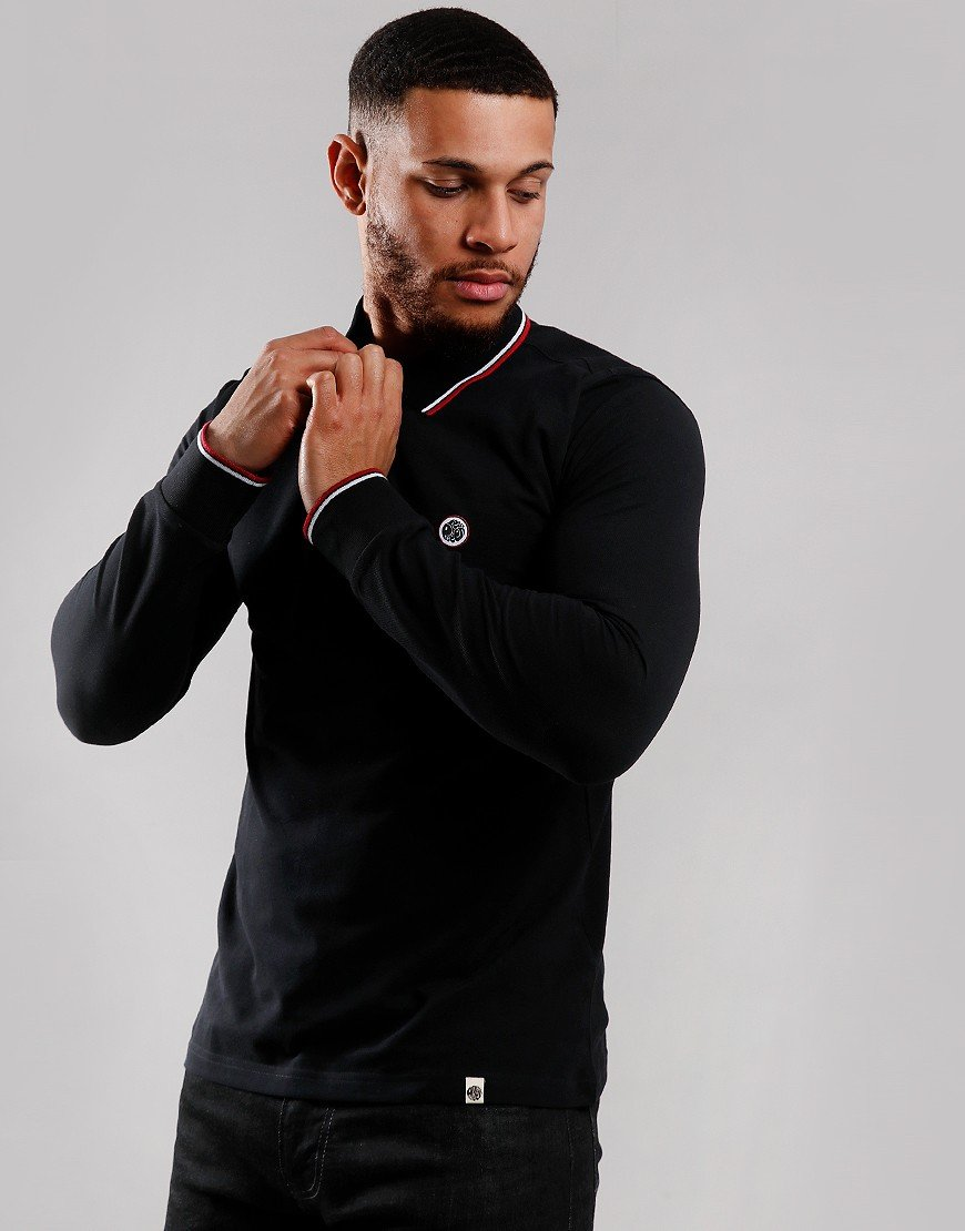 Pretty Green Long Sleeve Tipped Piqué Polo Shirt Black