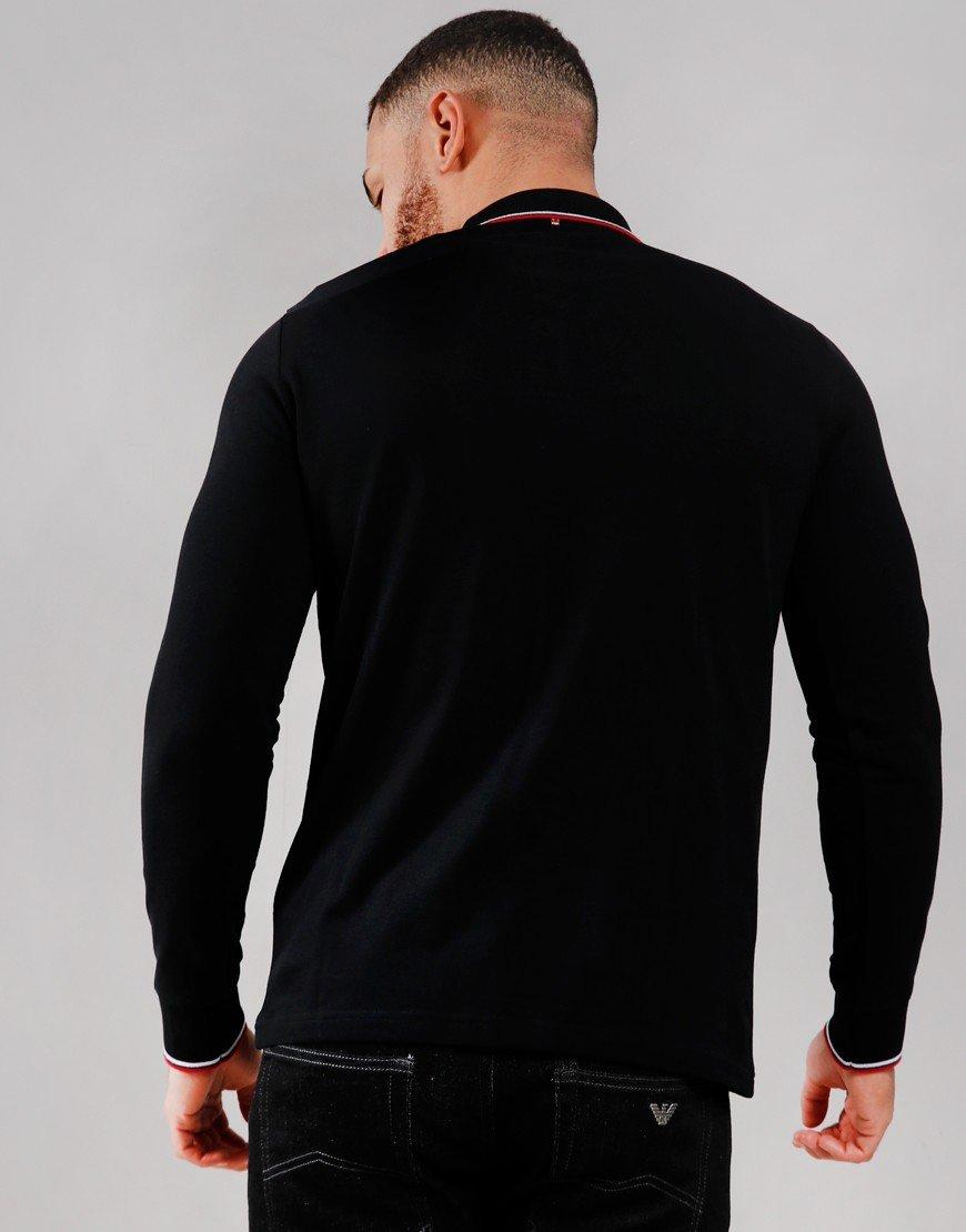 Pretty Green Long Sleeve Tipped Piqué Polo Shirt Black