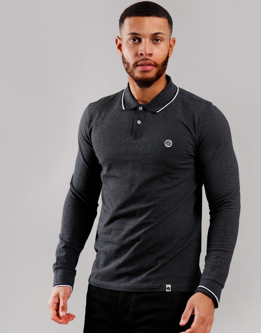 Pretty Green Long Sleeve Tipped Piqué Polo Shirt Grey