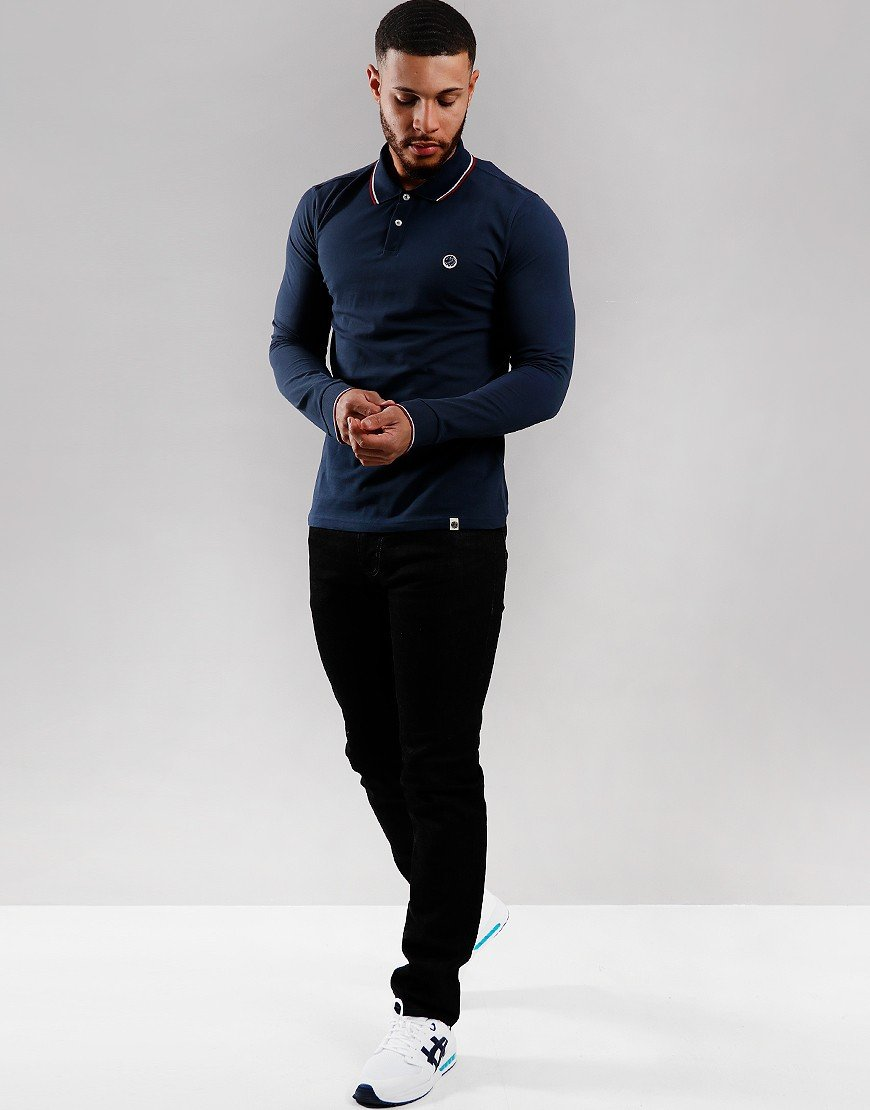 Pretty Green Long Sleeve Tipped Piqué Polo Shirt Navy