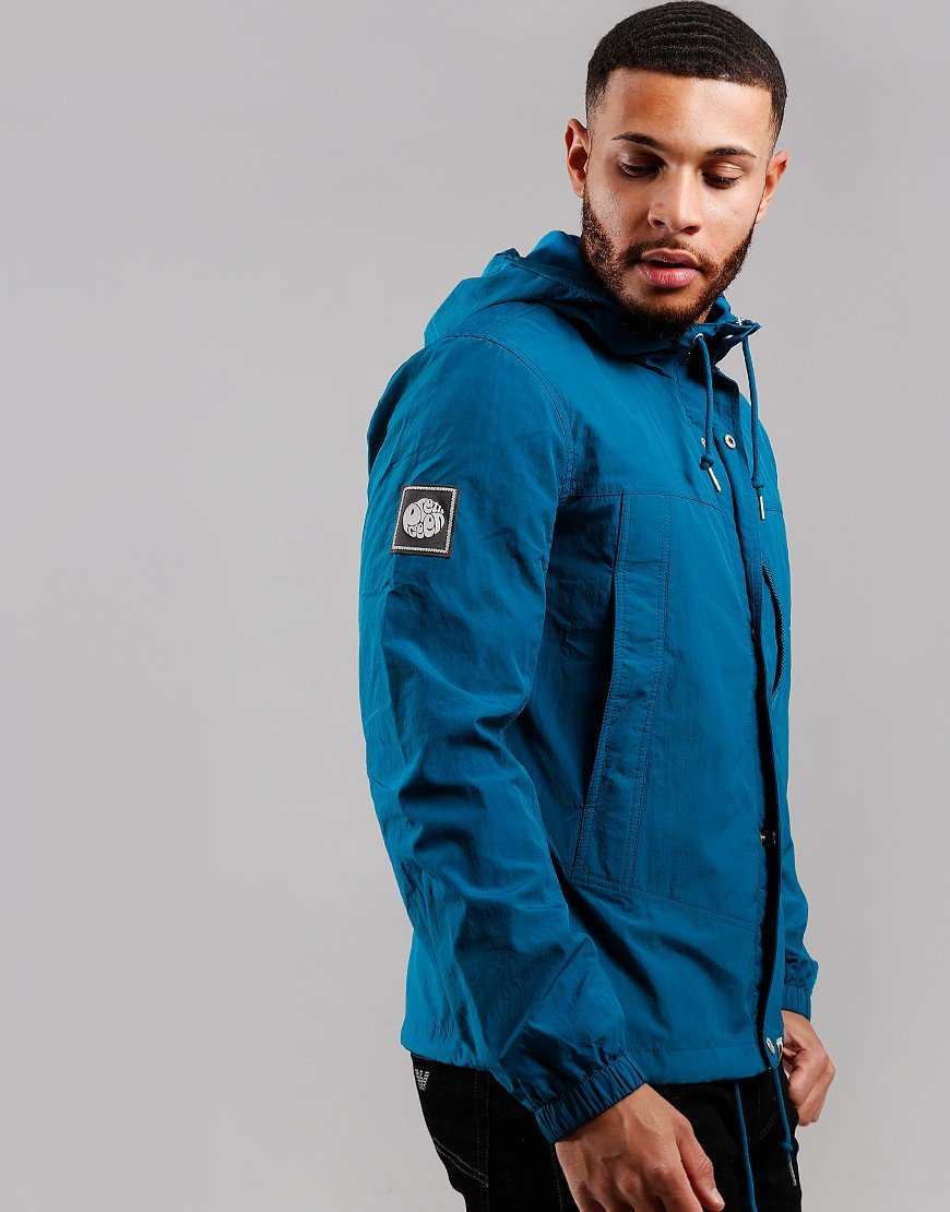 Pretty Green Zip Through Nylon Hooded Jacket Blue