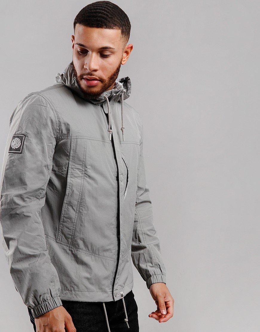 Pretty Green Zip Through Nylon Hooded Jacket Grey